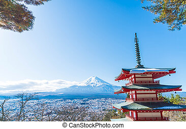 Mt. Fuji with Chureito Pagoda in autumn, Fujiyoshida.