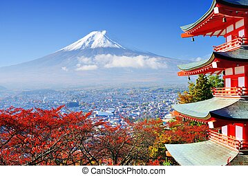 Mt. Fujiin Autumn - Mt. Fuji with fall colors in japan.