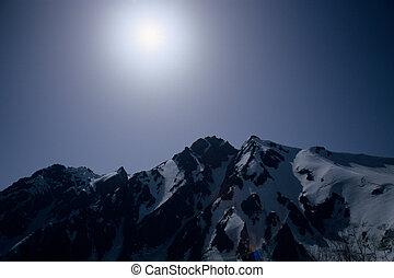 Mt. Goryudake of the Northern Japanese Alps, snow and Sun