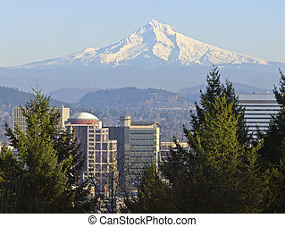Mt. Hood and downtown Portland Oregon.