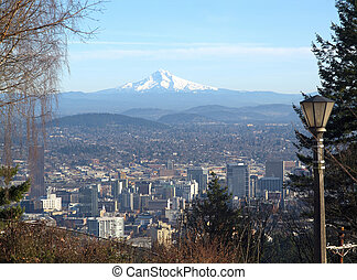 Mt. Hood and Portland Oregon skyline.