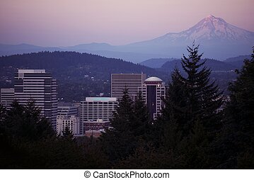 Mt Hood and Portland - Sunset Horizontal Photography....