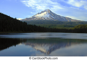 Mt Hood and Trillium lake at sunset.