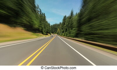 Mt Hood forest Driving Oregon 687 - Driving time lapse along...