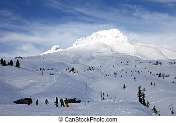 Mt. Hood in winter. (wide)