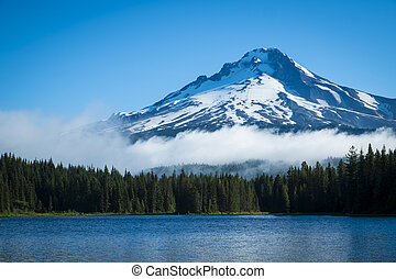 Mt. Hood, mountain lake, Oregon - Mt. Hood seen from...