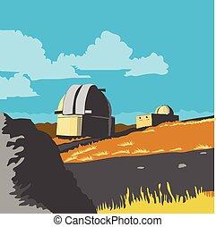 Mt John Observatory Lake Tekapo WPA - WPA style illustration...