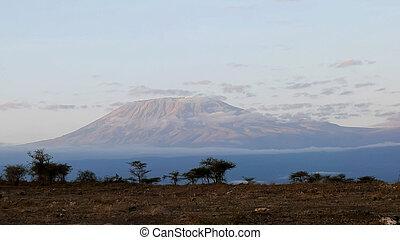 mt kilimanjaro at sunrise from amboseli national park
