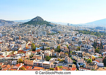 Mt Lycabettus from Acropolis in the morning, Athens, Greece