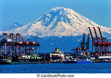 mt plus pluvieux, seattle, bateaux, fond, port, dock, rouges...