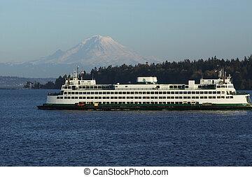 Mt. Rainier and ferry near Seattle - Mt. Rainier and ferry