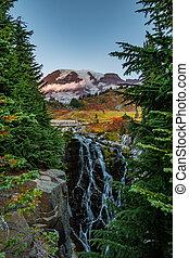 Mt Rainier and Myrtle Falls
