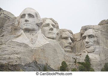 Mt Rushmore - Mount Rushmore in South Dakota on a heavily...