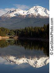 Mt Shasta Reflection Mountain Lake Modest Bridge California...