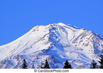 Mt. Shasta Snow - Mount Shasta Volcano under snow with clear...