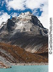Mt. Summit and Sacred Lake near Gokyo in Himalayas