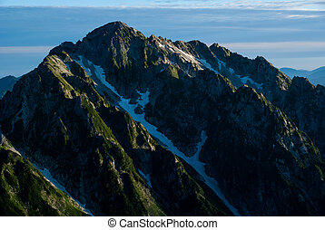 Mt. Turugidake lit by the morning sun