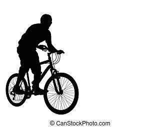 mtb, biciklista, árnykép