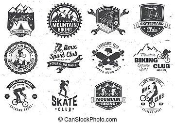 mtb, bmx., 概念, badge., クラブ, 極点, バッジ, スポーツ, 人, ティー, 切手, 乗車, ...