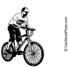 mtb cyclist illustration - vector