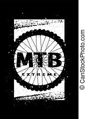 MTB extreme on the background of the wheel. Banner, t-shirt print design on a dark background. Vector illustration.
