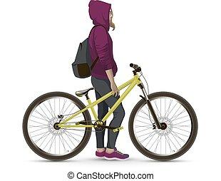 mtb, meisje, bike.