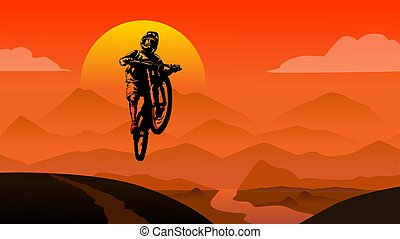 MTB rider jump sunset in mountains view background flat style illustration vector