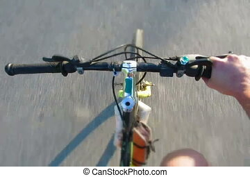 mtb timelapse tilt-shift footage -  Bicycle handlebar detail
