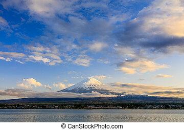 Mt.Fuji at sunset, Kawaguchiko lake, Fujiyoshida, Japan