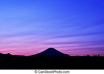 Mt.Fuji sunset silhouette
