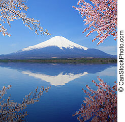 Mt.Fuji with water reflection at Lake Yamanaka, Japan