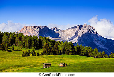 Mt.Langkofel at sunset, view from Seiser Alm, Dolomites,...
