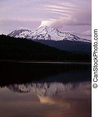 Mt.Shasta with Siskiyou Lake in California