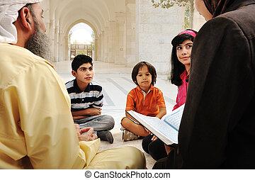 muçulmano, árabe, pupilas, grupo, educação
