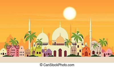 muçulmano, cityscape, mesquita, predios, religião