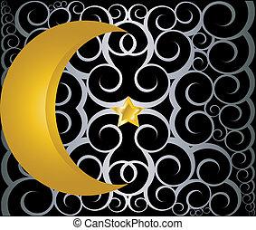 muçulmano, estrela, crescente, ouro