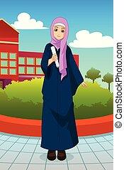 muçulmano, estudante, durante, escola, graduação, ilustração