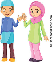muçulmano, macho, femininas