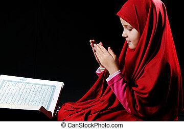 muçulmano, menina, com, livro sagrado, alcorão