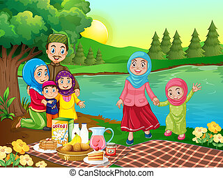 muçulmano, piquenique, família, natureza