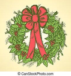 muérdago, corona de navidad
