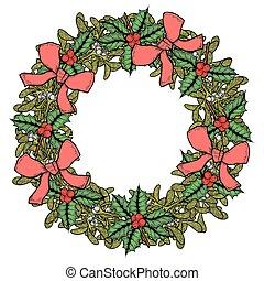 muérdago, verde, wreath.