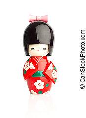 muñeca, aislado, contra,  kokeshi, Plano de fondo, blanco