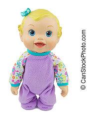 muñeca, aislar, traje, plano de fondo, violeta, bebé