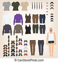 muñeca, arriba, tela, vector, hipster, surtido, vestido