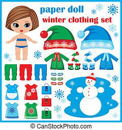 muñeca de papel, con, ropa de invierno, set.
