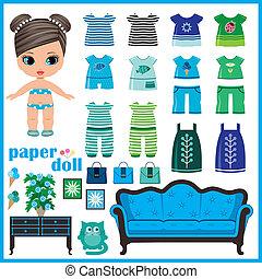 muñeca de papel, con, ropa, set.