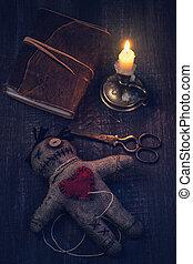 muñeca de vudú, alfileres