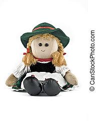 muñeca del trapo, nacional, disfraz, (folk), austríaco