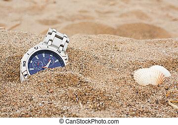muñeca, playa, reloj, perdido